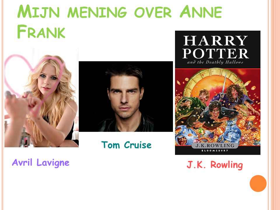 M IJN MENING OVER A NNE F RANK Avril Lavigne Tom Cruise J.K. Rowling