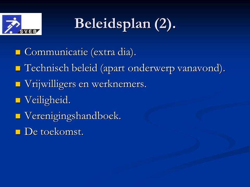 Beleidsplan (2). Communicatie (extra dia). Communicatie (extra dia). Technisch beleid (apart onderwerp vanavond). Technisch beleid (apart onderwerp va