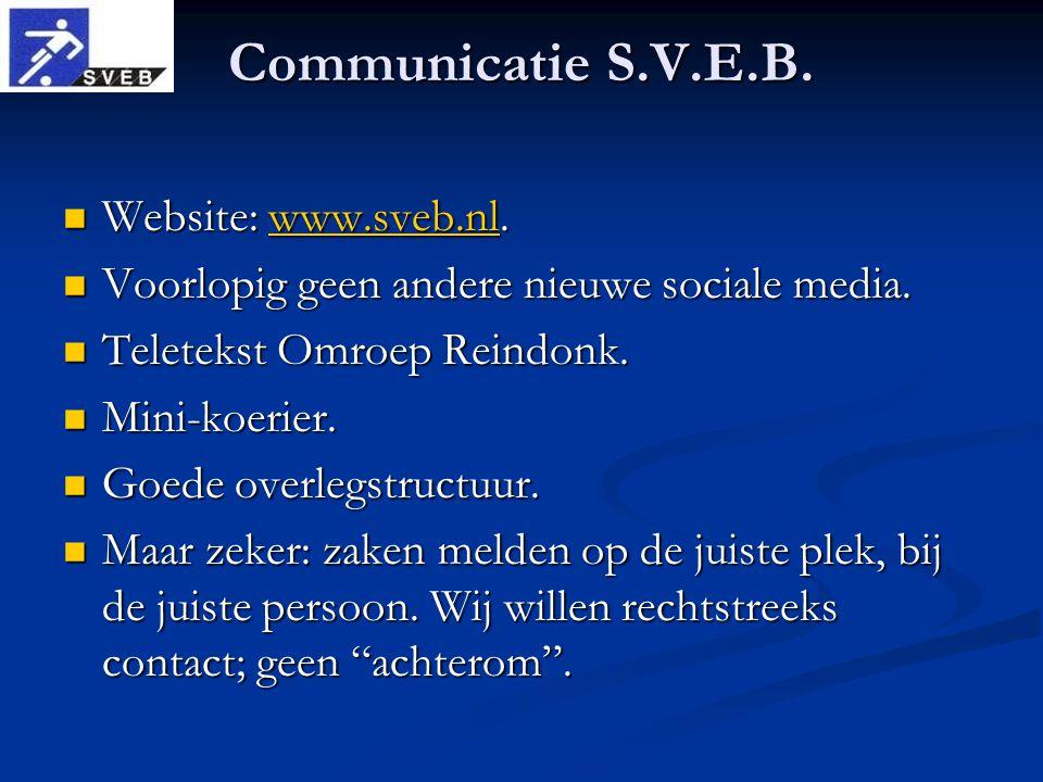 Communicatie S.V.E.B. Website: www.sveb.nl. Website: www.sveb.nl.www.sveb.nl Voorlopig geen andere nieuwe sociale media. Voorlopig geen andere nieuwe