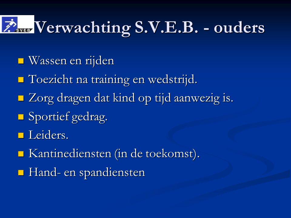 Verwachting S.V.E.B. - ouders Verwachting S.V.E.B. - ouders Wassen en rijden Wassen en rijden Toezicht na training en wedstrijd. Toezicht na training