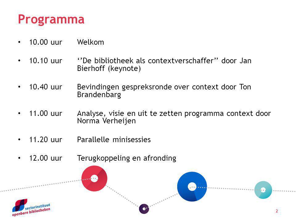 2 Programma 10.00 uurWelkom 10.10 uur''De bibliotheek als contextverschaffer'' door Jan Bierhoff (keynote) 10.40 uurBevindingen gespreksronde over con