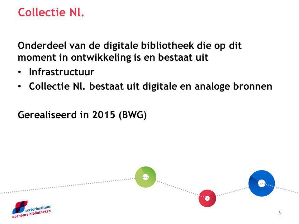 3 Onderdeel van de digitale bibliotheek die op dit moment in ontwikkeling is en bestaat uit Infrastructuur Collectie Nl. bestaat uit digitale en analo