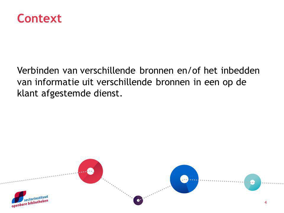 4 Context Verbinden van verschillende bronnen en/of het inbedden van informatie uit verschillende bronnen in een op de klant afgestemde dienst.