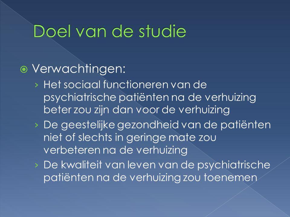  Verwachtingen: › Het sociaal functioneren van de psychiatrische patiënten na de verhuizing beter zou zijn dan voor de verhuizing › De geestelijke ge