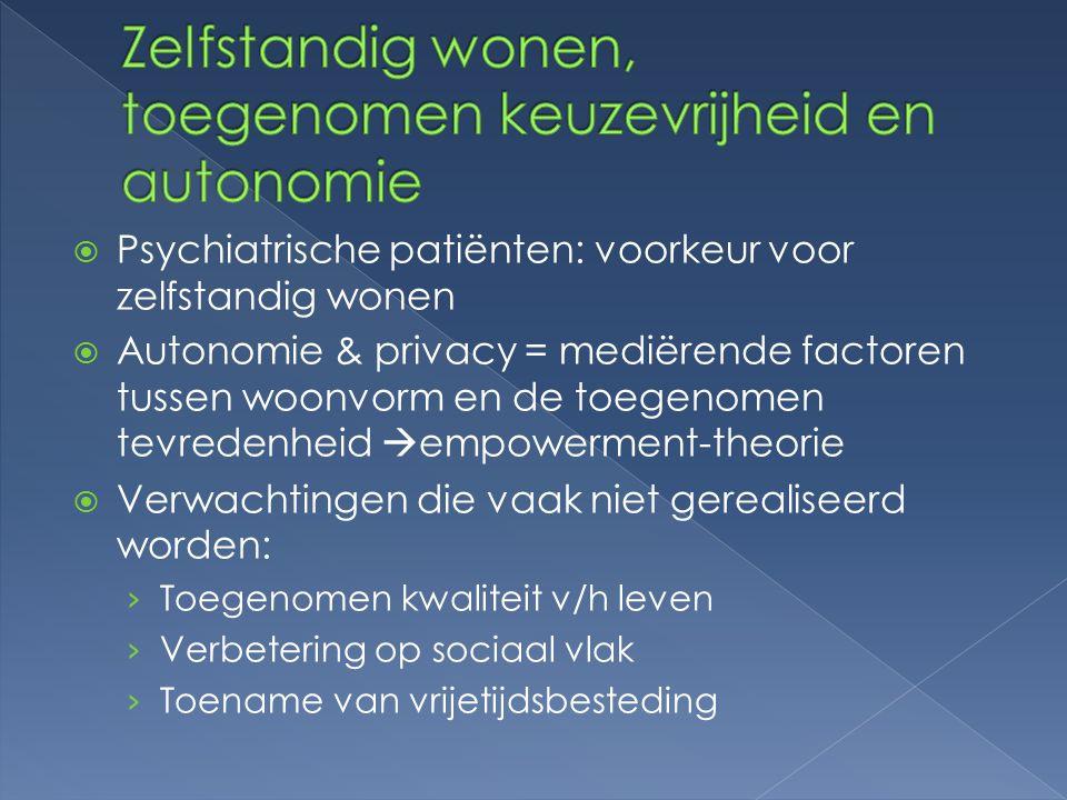  Psychiatrische patiënten: voorkeur voor zelfstandig wonen  Autonomie & privacy = mediërende factoren tussen woonvorm en de toegenomen tevredenheid