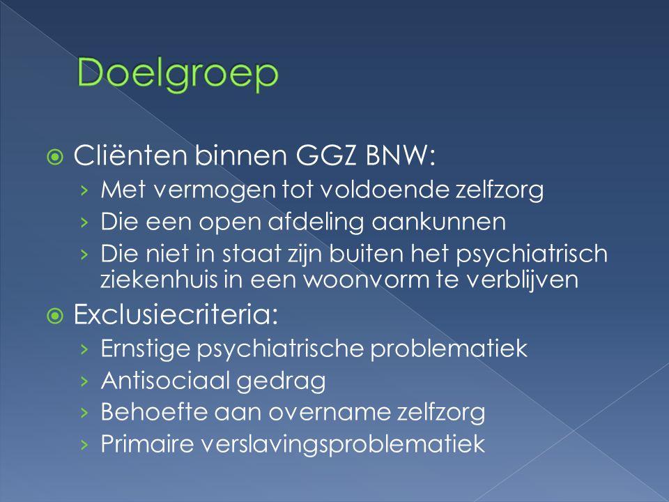  Cliënten binnen GGZ BNW: › Met vermogen tot voldoende zelfzorg › Die een open afdeling aankunnen › Die niet in staat zijn buiten het psychiatrisch z