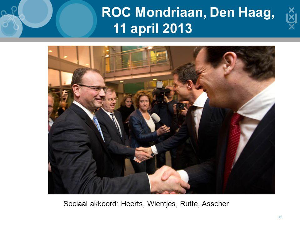 ROC Mondriaan, Den Haag, 11 april 2013 12 Sociaal akkoord: Heerts, Wientjes, Rutte, Asscher