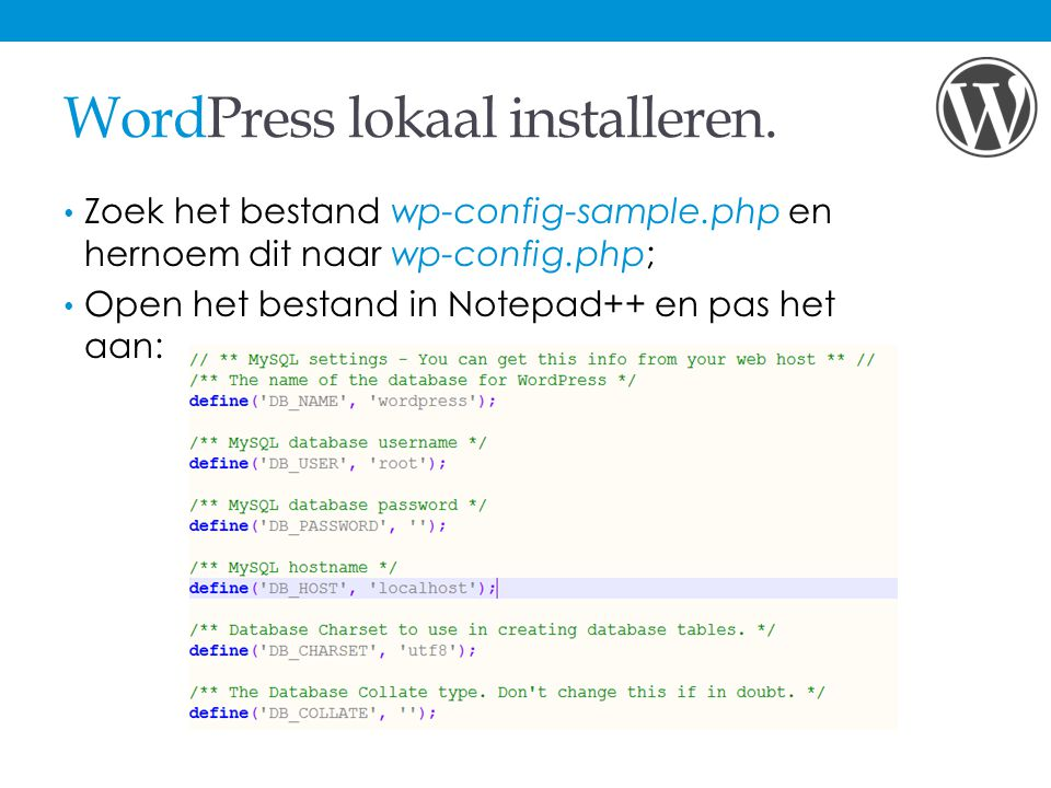 WordPress lokaal installeren.