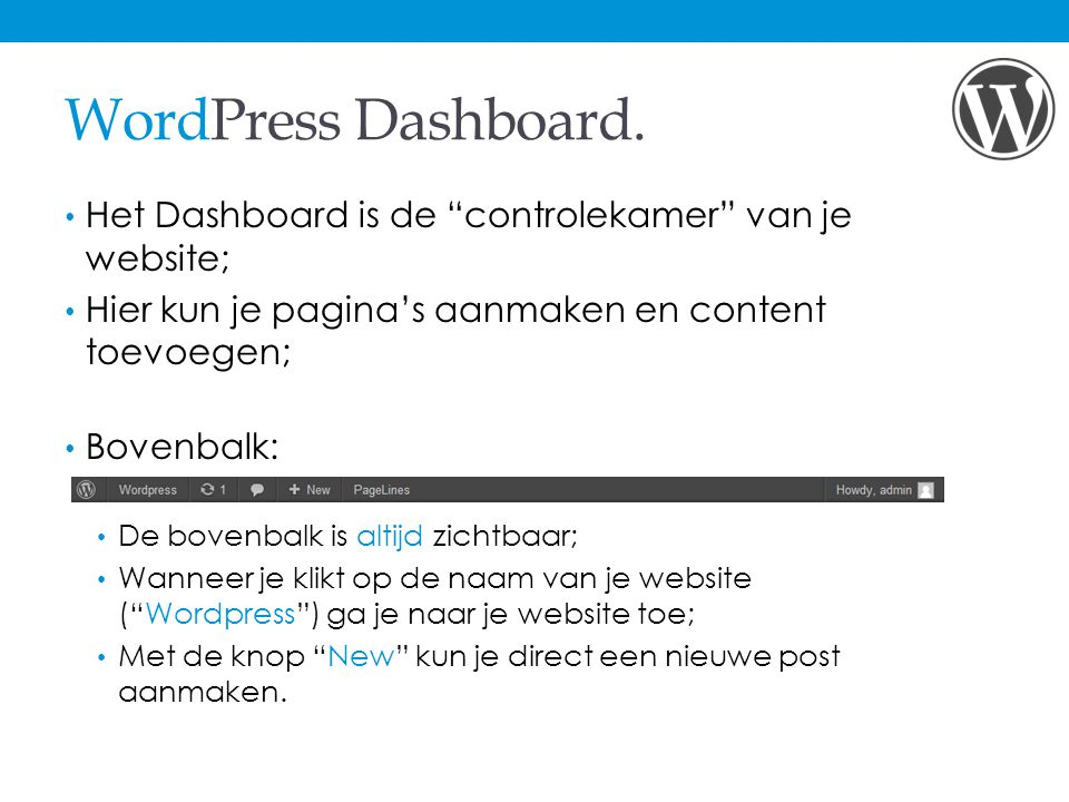 WordPress Dashboard.