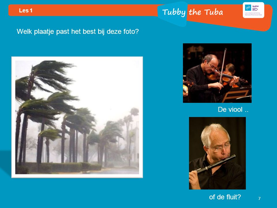 7 Welk plaatje past het best bij deze foto De viool.. of de fluit