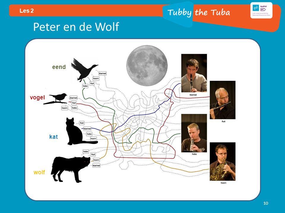 10 Les 2 eend vogel kat wolf Peter en de Wolf