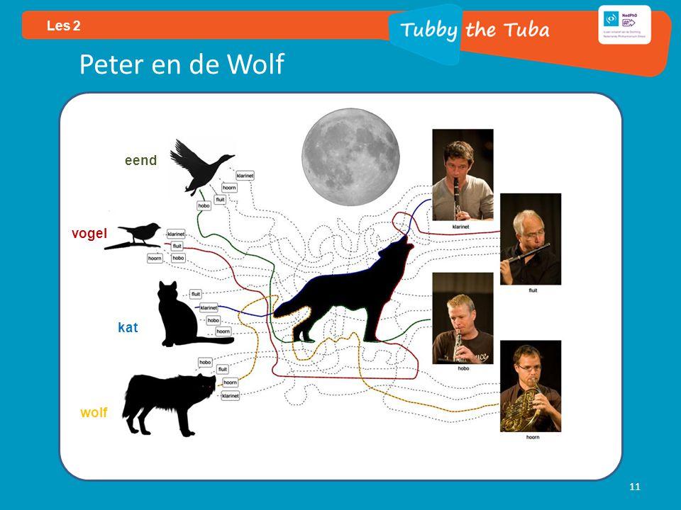11 Les 2 Peter en de Wolf eend vogel kat wolf