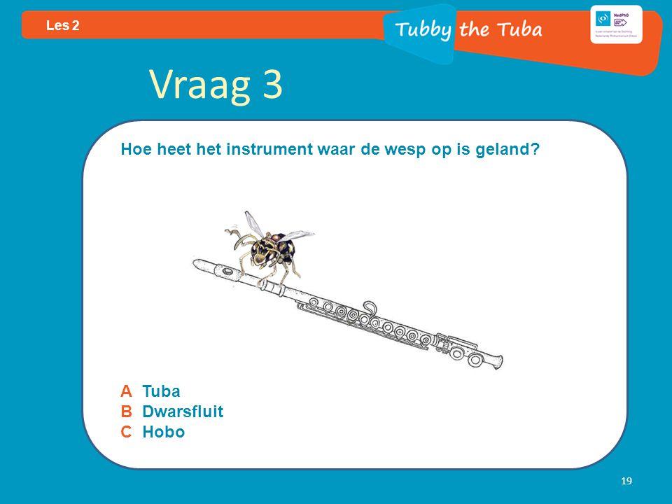 19 Les 2 Vraag 3 Hoe heet het instrument waar de wesp op is geland? A Tuba B Dwarsfluit C Hobo