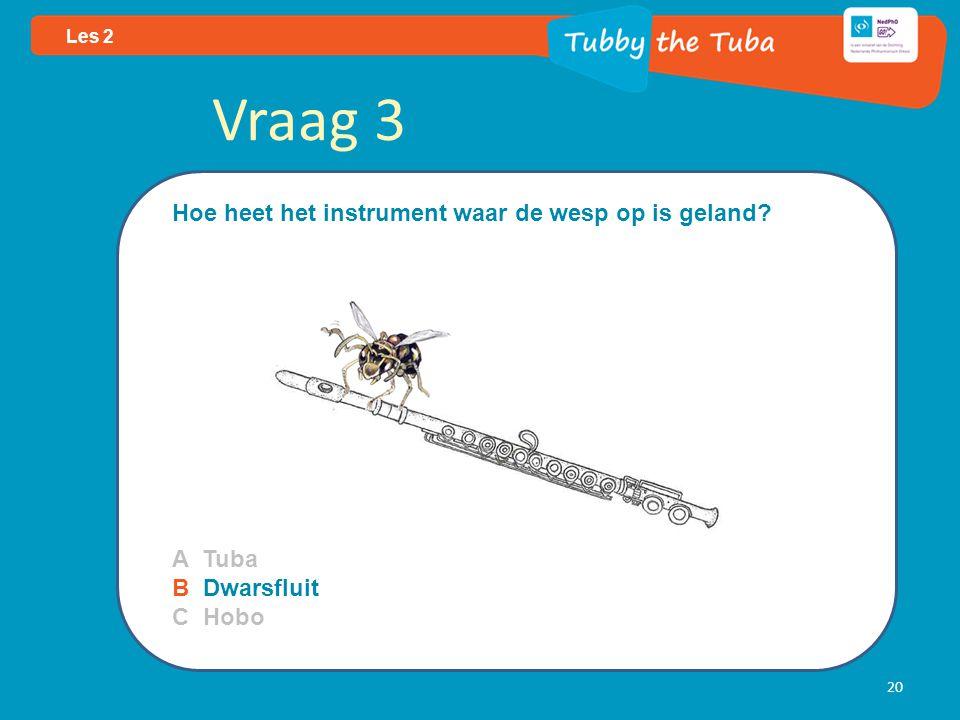20 Les 2 Vraag 3 Hoe heet het instrument waar de wesp op is geland? A Tuba B Dwarsfluit C Hobo