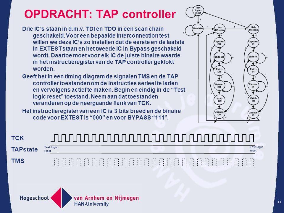 HAN-University 11 OPDRACHT: TAP controller Drie IC's staan in d.m.v. TDI en TDO in een scan chain geschakeld. Voor een bepaalde interconnection test w