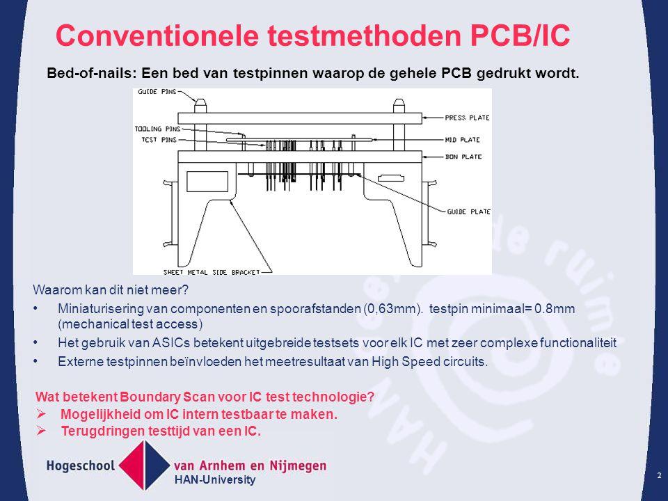 HAN-University 2 Conventionele testmethoden PCB/IC Waarom kan dit niet meer? Miniaturisering van componenten en spoorafstanden (0,63mm). testpin minim