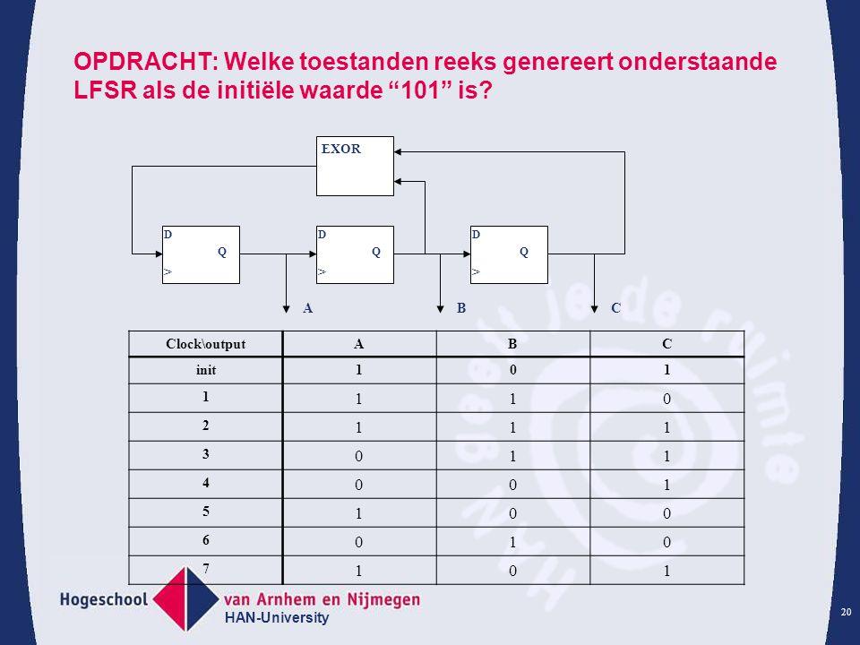 """HAN-University 20 OPDRACHT: Welke toestanden reeks genereert onderstaande LFSR als de initiële waarde """"101"""" is? D Q > EXOR D Q > D Q > ABC Clock\outpu"""