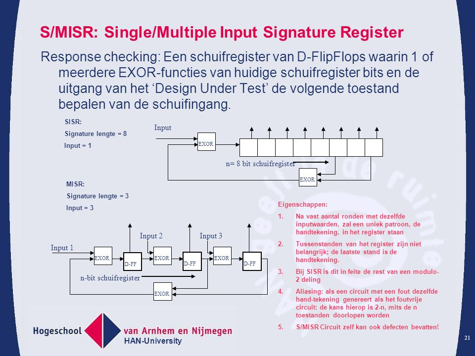 HAN-University 21 S/MISR: Single/Multiple Input Signature Register Response checking: Een schuifregister van D-FlipFlops waarin 1 of meerdere EXOR-fun