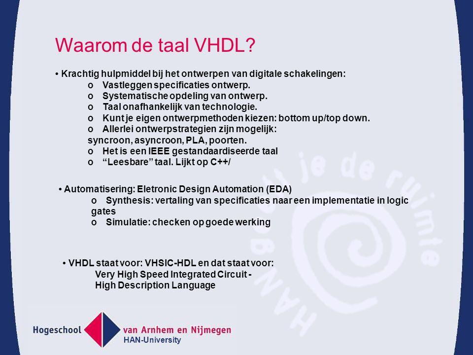 HAN-University 14 Structuurbeschrijving van een fulladder (vervolg) In VHDL_93 is de component declaratie niet meer verplicht.