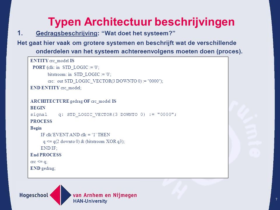HAN-University 7 Typen Architectuur beschrijvingen 1.