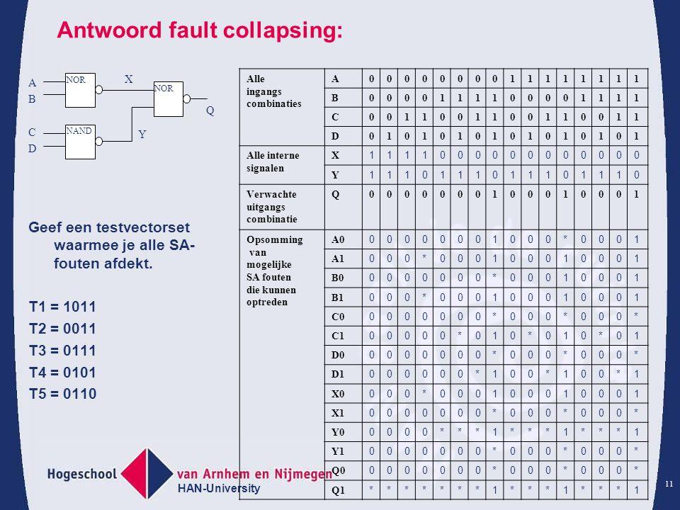 HAN-University 11 Antwoord fault collapsing: Geef een testvectorset waarmee je alle SA- fouten afdekt.