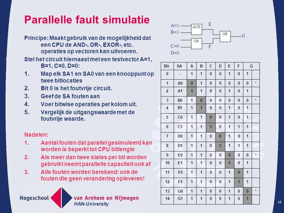 HAN-University 16 Parallelle fault simulatie Principe: Maakt gebruik van de mogelijkheid dat een CPU de AND-, OR-, EXOR-, etc.