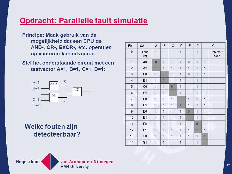 HAN-University 17 Opdracht: Parallelle fault simulatie BitSAABCDEFG 0 Fout vrij 111111 1Detecteer baar 1A0`0111011 2A11111111 3B01011011 4B11111111 5C01101111 6C11111111 7D01110111 8D11111111 9E01111011 10E11111111 11F01111101 12F11111111 13G01111110* 14G11111111 Principe: Maak gebruik van de mogelijkheid dat een CPU de AND-, OR-, EXOR-, etc.