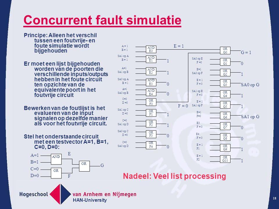 HAN-University 18 Concurrent fault simulatie Principe: Alleen het verschil tussen een foutvrije- en foute simulatie wordt bijgehouden Er moet een lijst bijgehouden worden van de poorten die verschillende inputs/outputs hebben in het foute circuit ten opzichte van de equivalente poort in het foutvrije circuit Bewerken van de foutlijst is het evalueren van de input signalen op dezelfde manier als voor het foutvrije circuit.
