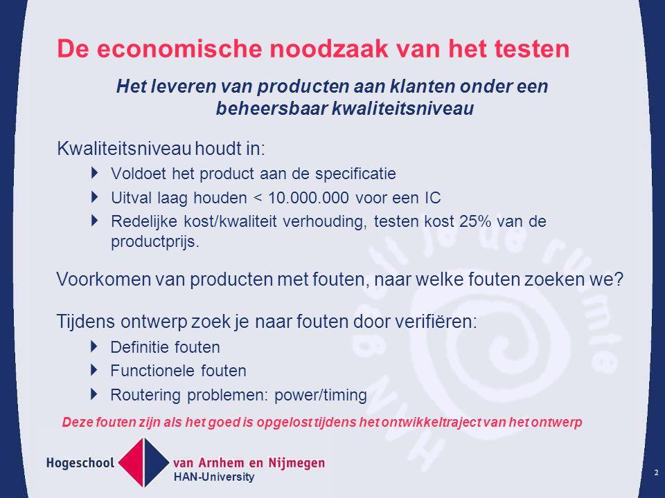HAN-University 2 De economische noodzaak van het testen Kwaliteitsniveau houdt in:  Voldoet het product aan de specificatie  Uitval laag houden < 10.000.000 voor een IC  Redelijke kost/kwaliteit verhouding, testen kost 25% van de productprijs.