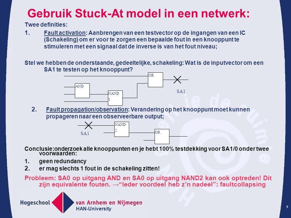 HAN-University 9 Gebruik Stuck-At model in een netwerk: Twee definities: 1.