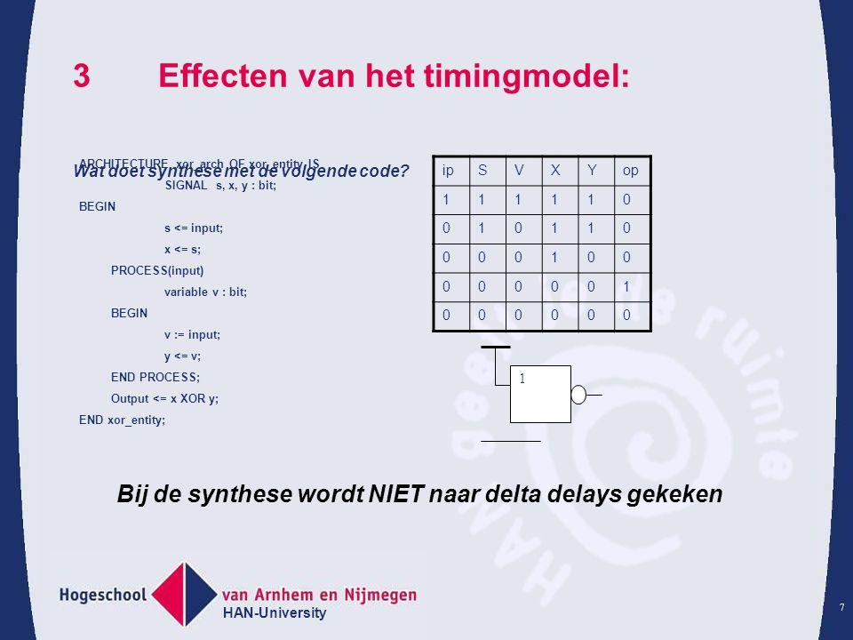 HAN-University 7 3Effecten van het timingmodel: Wat doet synthese met de volgende code.