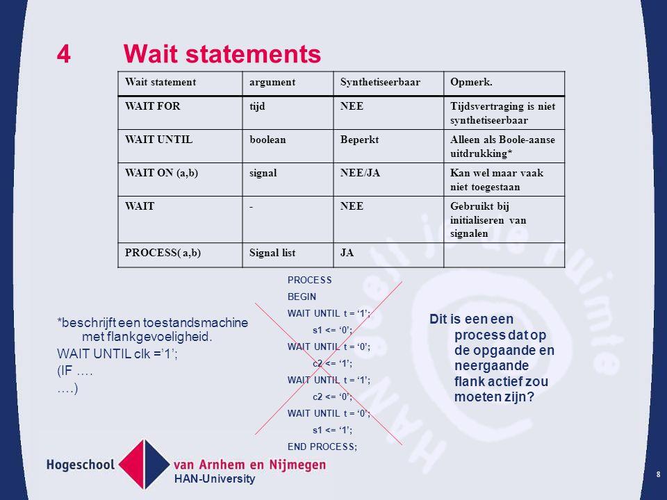 HAN-University 8 4Wait statements *beschrijft een toestandsmachine met flankgevoeligheid.