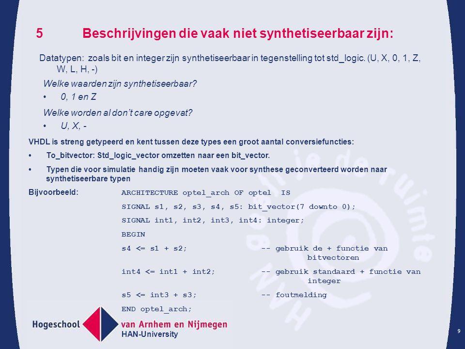 HAN-University 9 5Beschrijvingen die vaak niet synthetiseerbaar zijn: Datatypen: zoals bit en integer zijn synthetiseerbaar in tegenstelling tot std_logic.