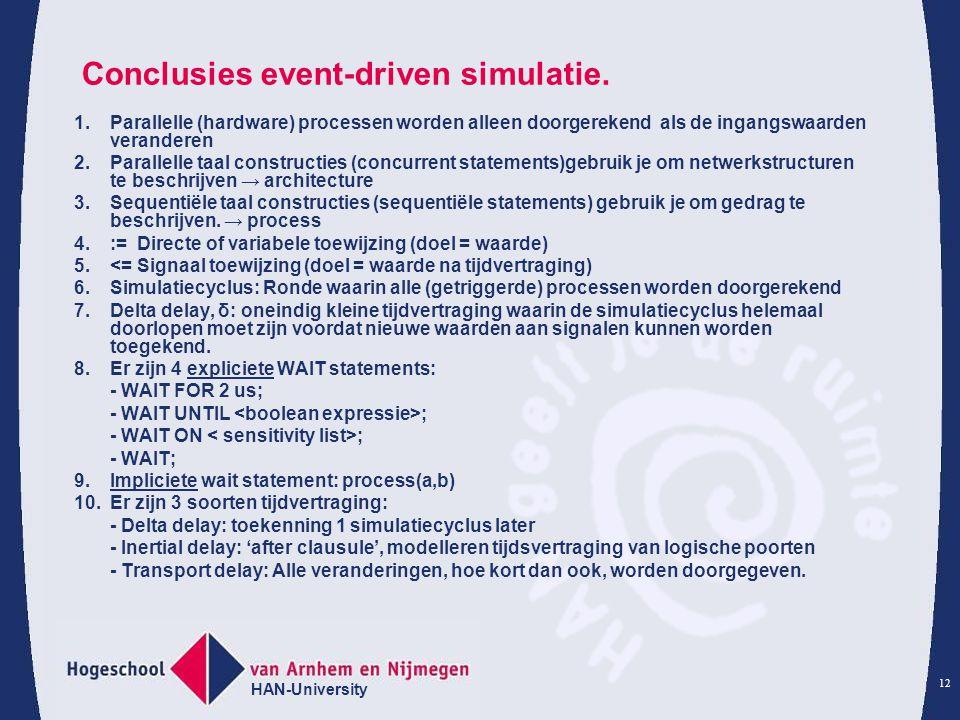 HAN-University 12 Conclusies event-driven simulatie. 1.Parallelle (hardware) processen worden alleen doorgerekend als de ingangswaarden veranderen 2.P