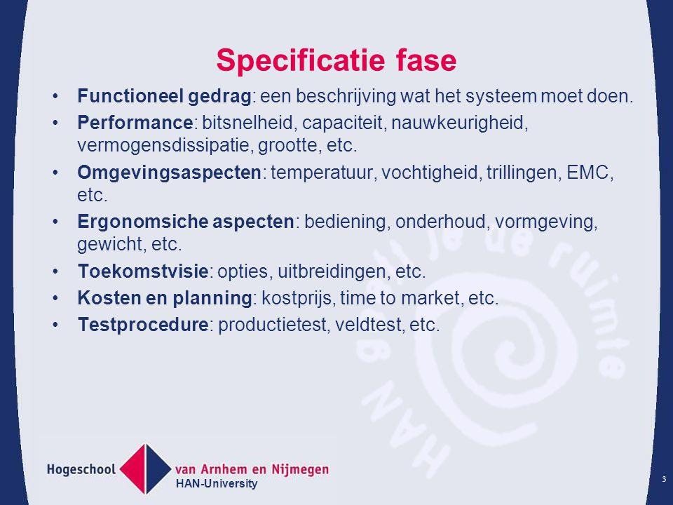 HAN-University 3 Specificatie fase Functioneel gedrag: een beschrijving wat het systeem moet doen.