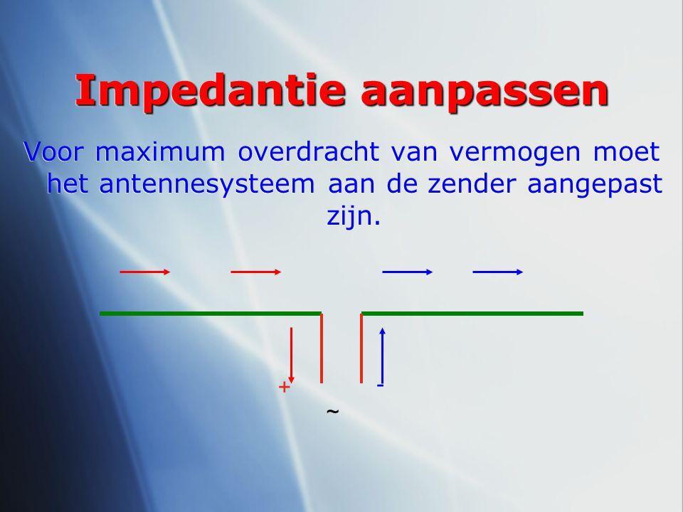 Impedantie aanpassen Voor maximum overdracht van vermogen moet het antennesysteem aan de zender aangepast zijn. - + ~