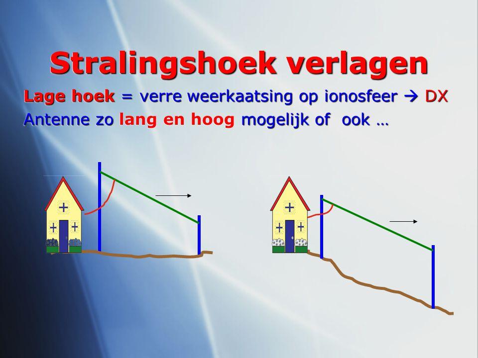 Stralingshoek verlagen Lage hoek = verre weerkaatsing op ionosfeer  DX Antenne zo mogelijk of ook … Antenne zo lang en hoog mogelijk of ook … Lage ho