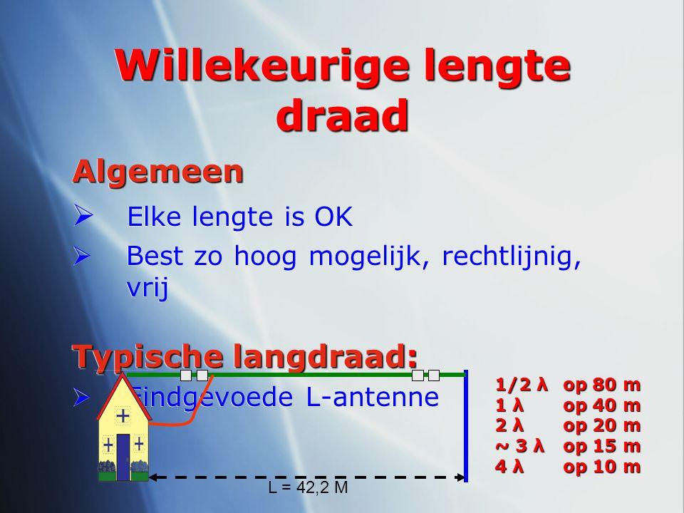Willekeurige lengte draad Algemeen  Elke lengte is OK  Best zo hoog mogelijk, rechtlijnig, vrij Typische langdraad:  Eindgevoede L-antenneAlgemeen