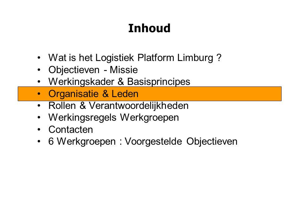 Inhoud Wat is het Logistiek Platform Limburg ? Objectieven - Missie Werkingskader & Basisprincipes Organisatie & Leden Rollen & Verantwoordelijkheden