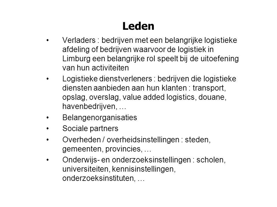 Leden Verladers : bedrijven met een belangrijke logistieke afdeling of bedrijven waarvoor de logistiek in Limburg een belangrijke rol speelt bij de ui