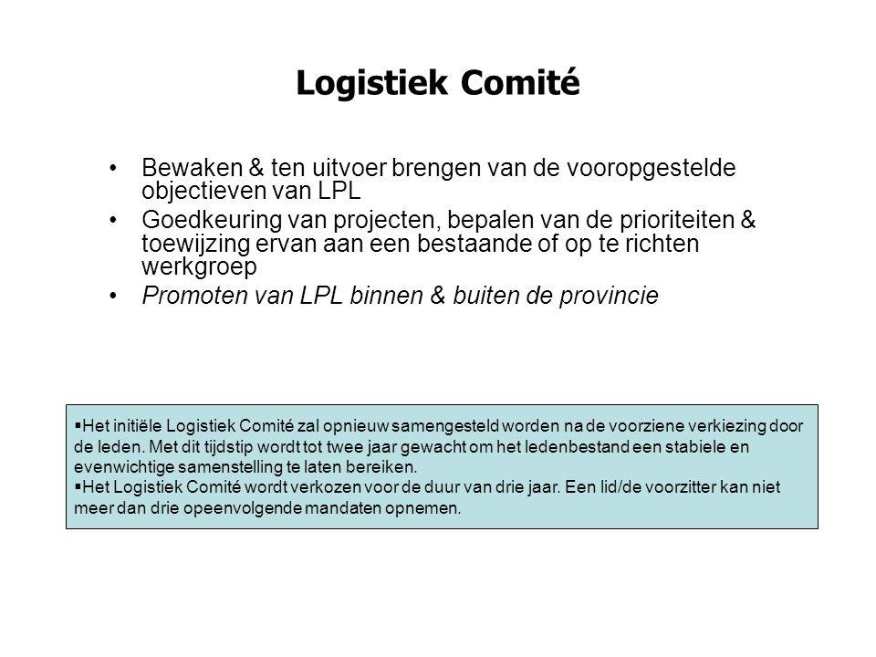 Logistiek Comité Bewaken & ten uitvoer brengen van de vooropgestelde objectieven van LPL Goedkeuring van projecten, bepalen van de prioriteiten & toew