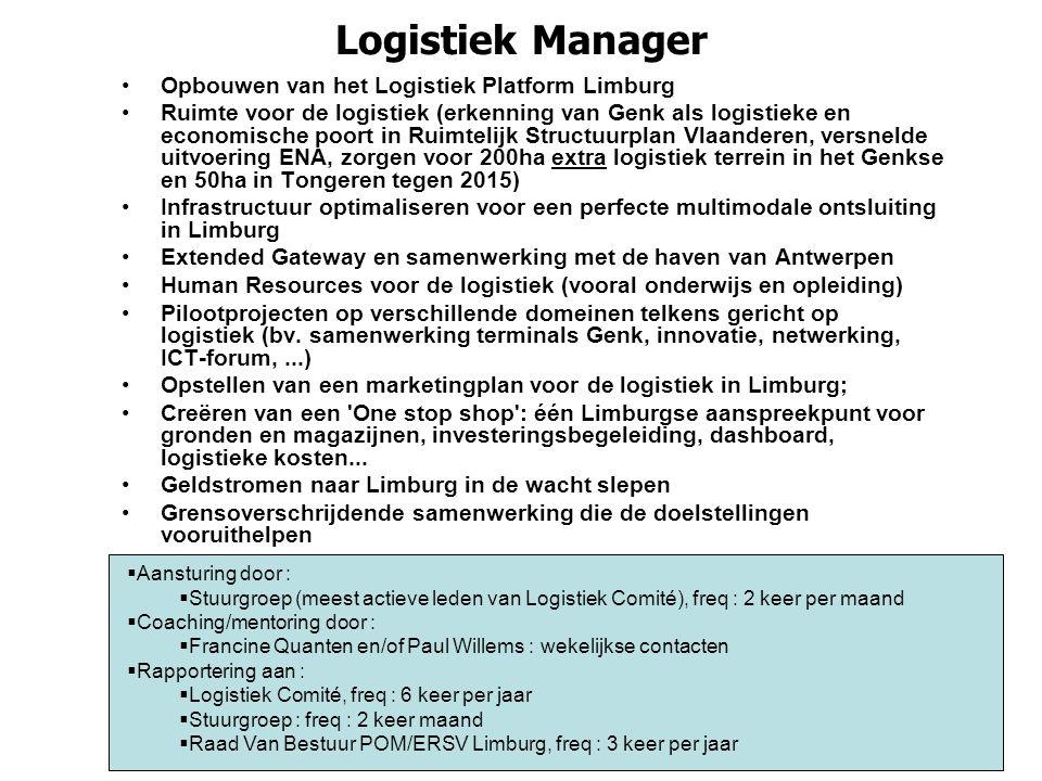 Logistiek Manager Opbouwen van het Logistiek Platform Limburg Ruimte voor de logistiek (erkenning van Genk als logistieke en economische poort in Ruim