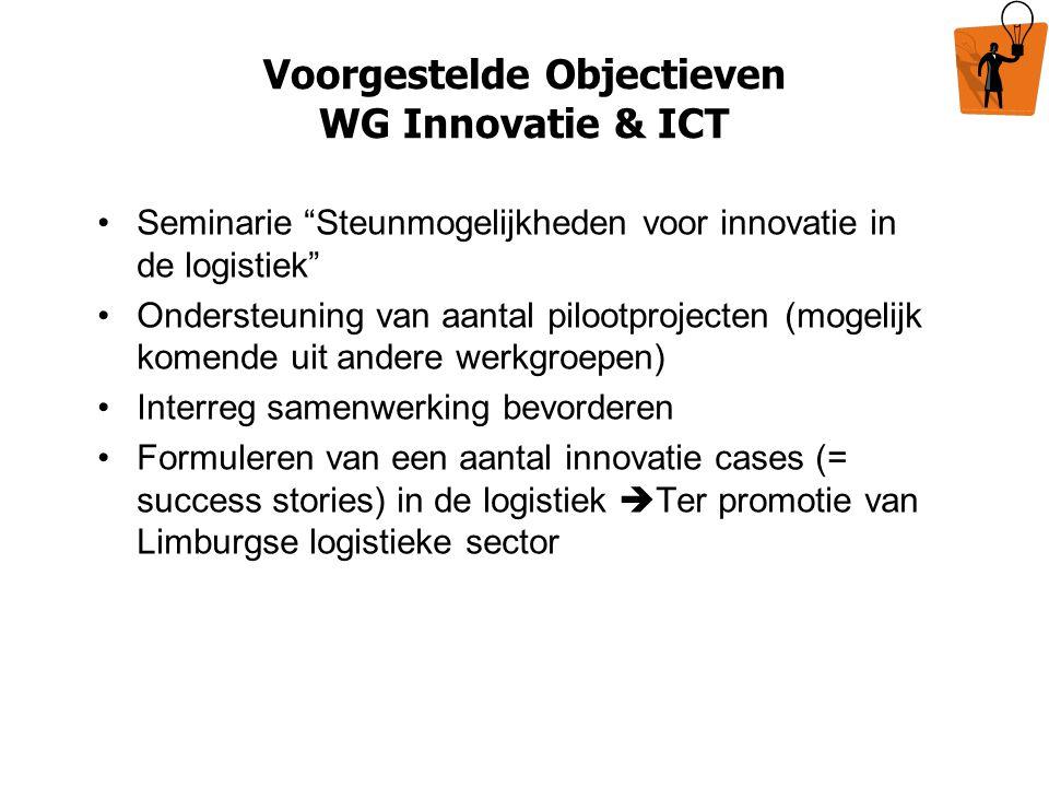 """Voorgestelde Objectieven WG Innovatie & ICT Seminarie """"Steunmogelijkheden voor innovatie in de logistiek"""" Ondersteuning van aantal pilootprojecten (mo"""