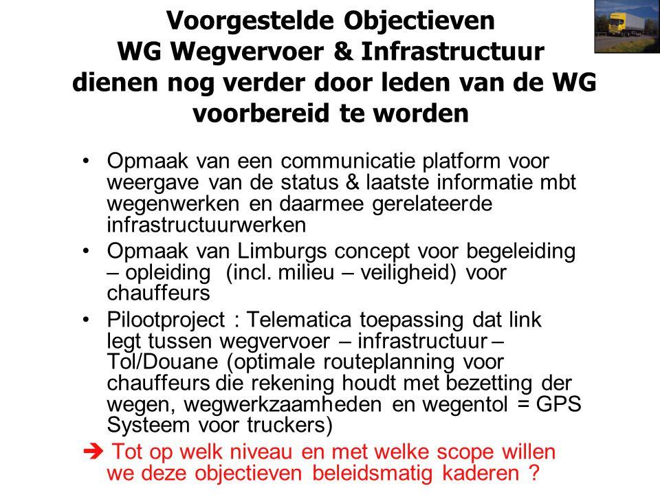 Voorgestelde Objectieven WG Wegvervoer & Infrastructuur dienen nog verder door leden van de WG voorbereid te worden Opmaak van een communicatie platfo