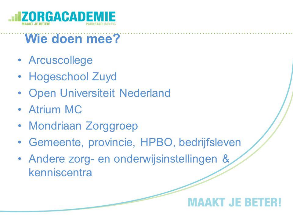 Wie doen mee? Arcuscollege Hogeschool Zuyd Open Universiteit Nederland Atrium MC Mondriaan Zorggroep Gemeente, provincie, HPBO, bedrijfsleven Andere z
