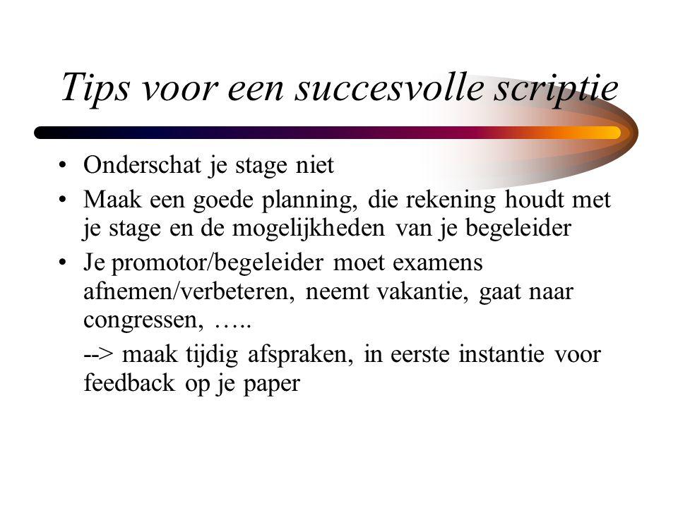 Tips voor een succesvolle scriptie Onderschat je stage niet Maak een goede planning, die rekening houdt met je stage en de mogelijkheden van je begele