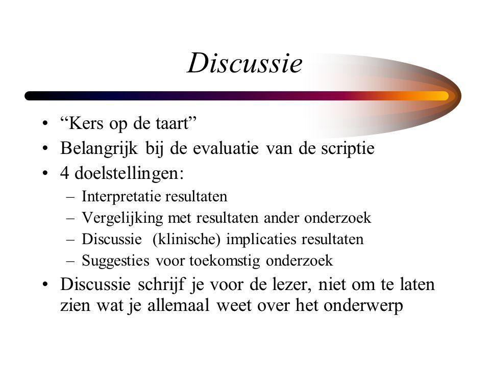 """Discussie """"Kers op de taart"""" Belangrijk bij de evaluatie van de scriptie 4 doelstellingen: –Interpretatie resultaten –Vergelijking met resultaten ande"""