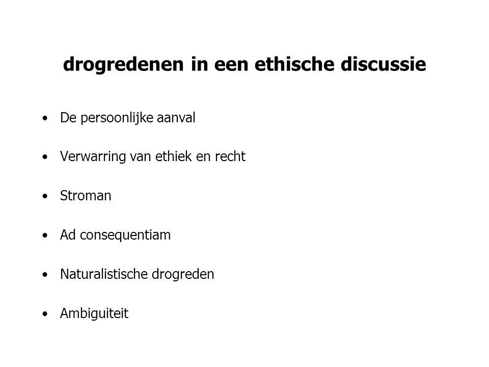 drogredenen in een ethische discussie De persoonlijke aanval Verwarring van ethiek en recht Stroman Ad consequentiam Naturalistische drogreden Ambigui