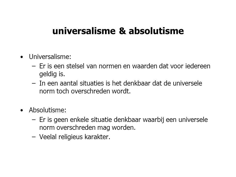 problemen absolutisme We kunnen er niet van uitgaan dat een universele norm in alle situaties het goede voorschrijft.