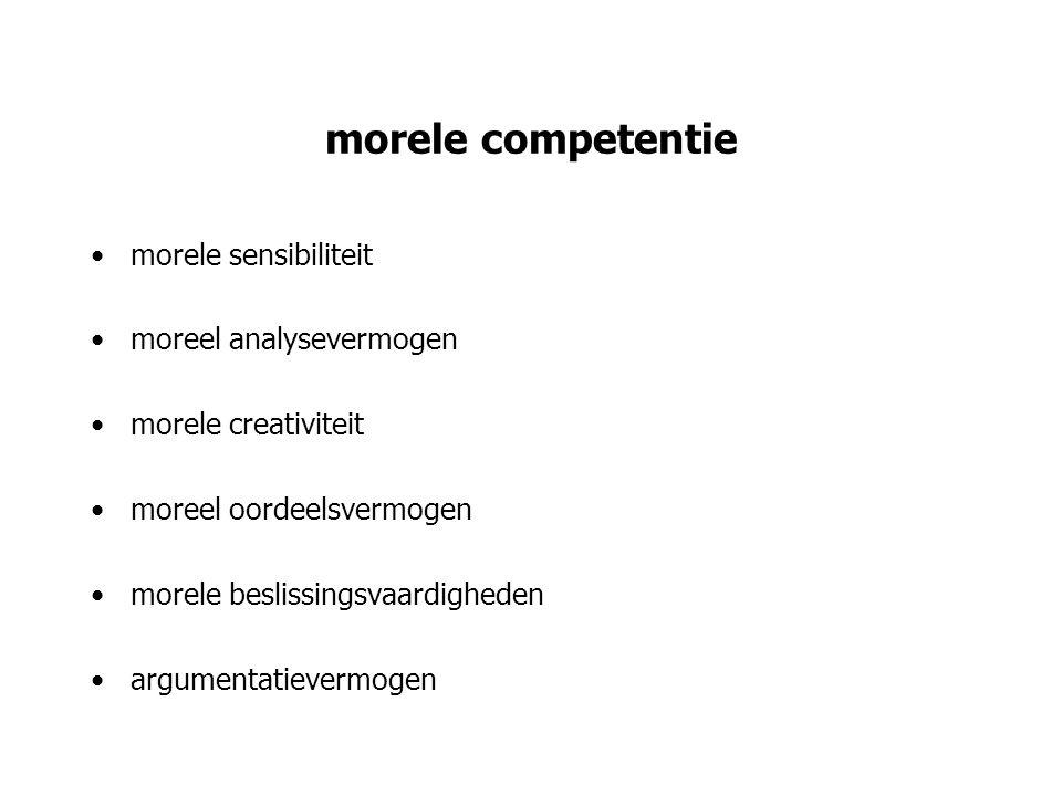 morele competentie morele sensibiliteit moreel analysevermogen morele creativiteit moreel oordeelsvermogen morele beslissingsvaardigheden argumentatie
